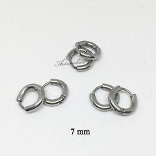 3Pairs Mens/Womens 3Colors Stainless Steel Tube Hoop Ear Ring Stud Earrings 7mm