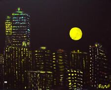 Art Print of Oil Painting by Dave New York Cityscape Buildings Night Moon Lights
