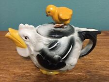 Rare Antique Teapot Black and White CHICKEN with Yellow CHICK Lid