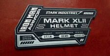 IRON MAN MARK 42 DISPLAY NAME PLACARD FOR YOUR HELMET ARMOR XLII