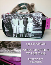 1927 WASH BAG Faux Leather HANDLES PURPLE ZIP Soul UK VINTAGE PHOTO Gift 1927G08