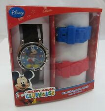 "MICKEY MOUSE,Diver Type,""Interchangeable"" KIDS/LADIES WATCH,NEW w/3 Bands,R16-22"