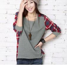 Women Loose Plaid Checked Gray Long Sleeve Casual T shirt Tops Blouse me12