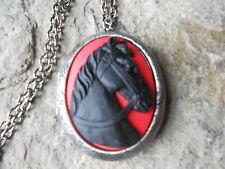 BLACK HORSE (ON RED) CAMEO ANTIQUED SILVER PLATED LOCKET -  HORSE LOVERS GIFT
