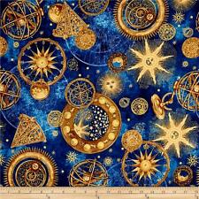 STARS Fabric Cotton Fat Quarter Quilting Craft ASTRONOMY Blue Gold CELESTRIAL