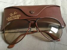 Ray Ban Aviator B & L leathers Black Frame 62-14 RARE NEW W/Out tag modificabile