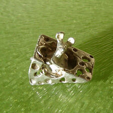 VINTAGE SILVER MOUSE IN CHEESE WEDGE CHARM