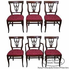 R-Way Northern Furniture Mahogany Set of 6 Regency Style Dining Chairs