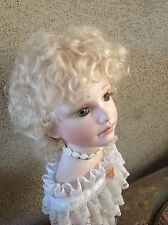 "Doll Wig, Mohair Charlotte Ash Blonde Size 11-12"" by Global Dolls. Shiny New"