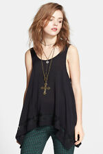 New Free People Outlined High Low Hem Cami Top BLACK $58.00 SMALL