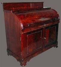 AMERICAN CLASSICAL CYLINDER DESK Signed J.W. Meeks