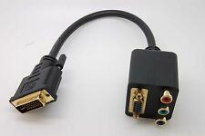 DVI-I Male to VGA/RCA RGB Component Dual Female Y-Splitter Adapter Cable C50_sx