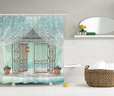 Scrolled Metal Garden Gate Graphic Shower Curtain Musical Notes Bath Curtain