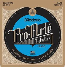 D'Addario EJ50 Pro Arte Black Nylon Classical Guitar Strings hard tension