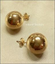 CLASSIC HIGH SHINE GOLD BALL OVER SIZE LARGE 20MM STUD EARRINGS NEW USA SELLER
