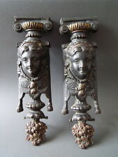 Pair of antique ornate decorative brass clock or furniture mounts with faces