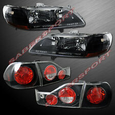 1998-2000 HONDA ACCORD 4DR SEDAN BLACK HEADLIGHTS + ALTEZZA TAIL LIGHTS 98 99 00