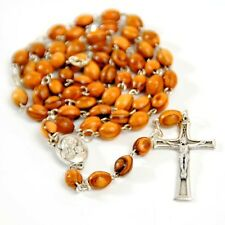 Olive Wood Rosary Beaded Catholic Cross with Holy Water from Holy Land Crucifix