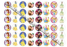 48 Disney Princess Cake Toppers 30mm Printed on premium sweetened rice paper