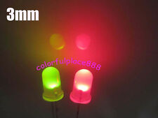 100pcs, 3mm Dual Bi Color Polar Changing Red/Green Led Diffused Leds + Resistors