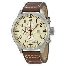 Tommy Hilfiger Beige Dial Chronograph Brown Leather Mens Watch 1790684