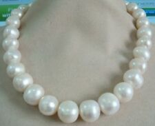HUGE AAA13-15MM SOUTH SEA GENUINE WHITE PEARL NECKLACE 14K