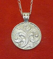 Sterling SIlver Rosemalling Pendant  with chain iNorway Norwegian Denmark