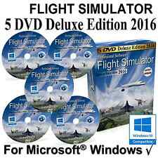 FlightGear Flight Simulator 2016 DELUXE Edition Sim 5 DVD Windows XP 7 8.1 10