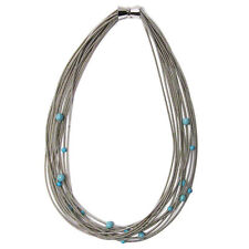 STUNNING HANDCRAFTED MULTI STRAND SILVER PIANO WIRE TURQUOISE BEADS NECKLACE