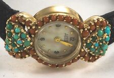 CORAL & TURQUOISE ENCRUSTED LUCIEN PICCARD Ladies 14K Dress Watch