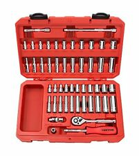 TEKTON 1/4in Drive Socket Set Inch/Metric 6-Point 5/32in 9/16in 5mm 14mm 51pc