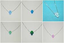 WHOLESALE LOTS 10x8mm Small OPAL HAMSA Fatima Hand 925 Sterling Silver NECKLACES