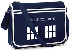 TARDIS Retro Messenger Bag | Doctor Who Inspired Fan Design | Sci-Fi Geek Chic