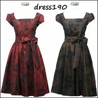 dress190 CAP SLEEVE 50's FLOCK FLORAL ROCKABILLY VINTAGE SWING PROM PARTY DRESS