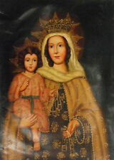 RARE Cuzco Oil Painting Peru Folk Art 19x27- Madonna and Child