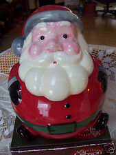 Gibson Everyday Jolly Santa Ceramic Cookie Snack Jar  Collectible New In Box