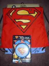 Superman - Backsack with Cape and super man desk alarm clock new