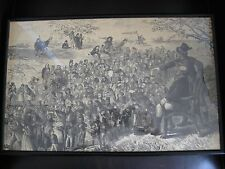 Antique Original 19th Century Pen Ink Drawing Onion Skin Dickens Characters