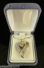 "18K Over Sterling Silver 1.00TW Diamond Heart Pendant with 18"" Chain"