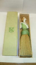 ANTIQUE PORCELAIN HALF DOLL BRUSH IN ORIGINAL BOX C. 1920S