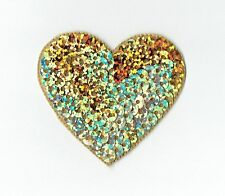 "Large Gold 2"" Sequin Heart - Valentine - Iron on Applique - Embroidered Patch"