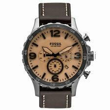 Fossil Original JR1512 Men's Nate Dark Brown Leather Watch 50mm Chronograph