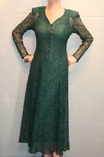 S DARK GREEN LACE VTG 80s 90s STEAMPUNK REVIVAL CORSET TIE LONG MIDI MAXI DRESS