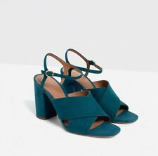 Zara Ladies Petrol Blue Teal Leather Suede Cross Over Sandals Shoes UK 6 EU 39
