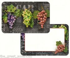 Reversible 4 Set Placemats, CHALKBOARD WINE, Red,Purple,Green Grapes, Winery USA