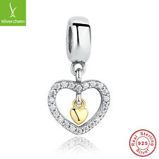 Forever In My Heart Authentic 925 Sterling Silver 14K Gold Valenting Charm Beads
