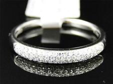 10K White Gold Womens Round Cut Diamond Pave Set Wedding band Ring 3.5 MM