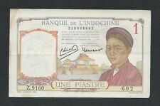 FRENCH INDOCHINA 1 PIASTRE - UNE PIASTRE - Giấy Một Đồng. RARE
