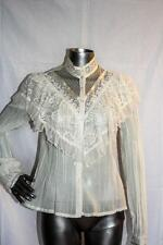 Womans Vintage GUNNIES GUNNE SAX Off White Lacy Ruffle Top Shirt Size S