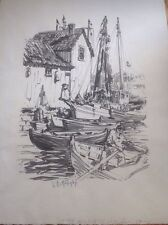 drawing by LESTER GEORGE HORNBY well-listed Rockport MA artist Boats Fisherman